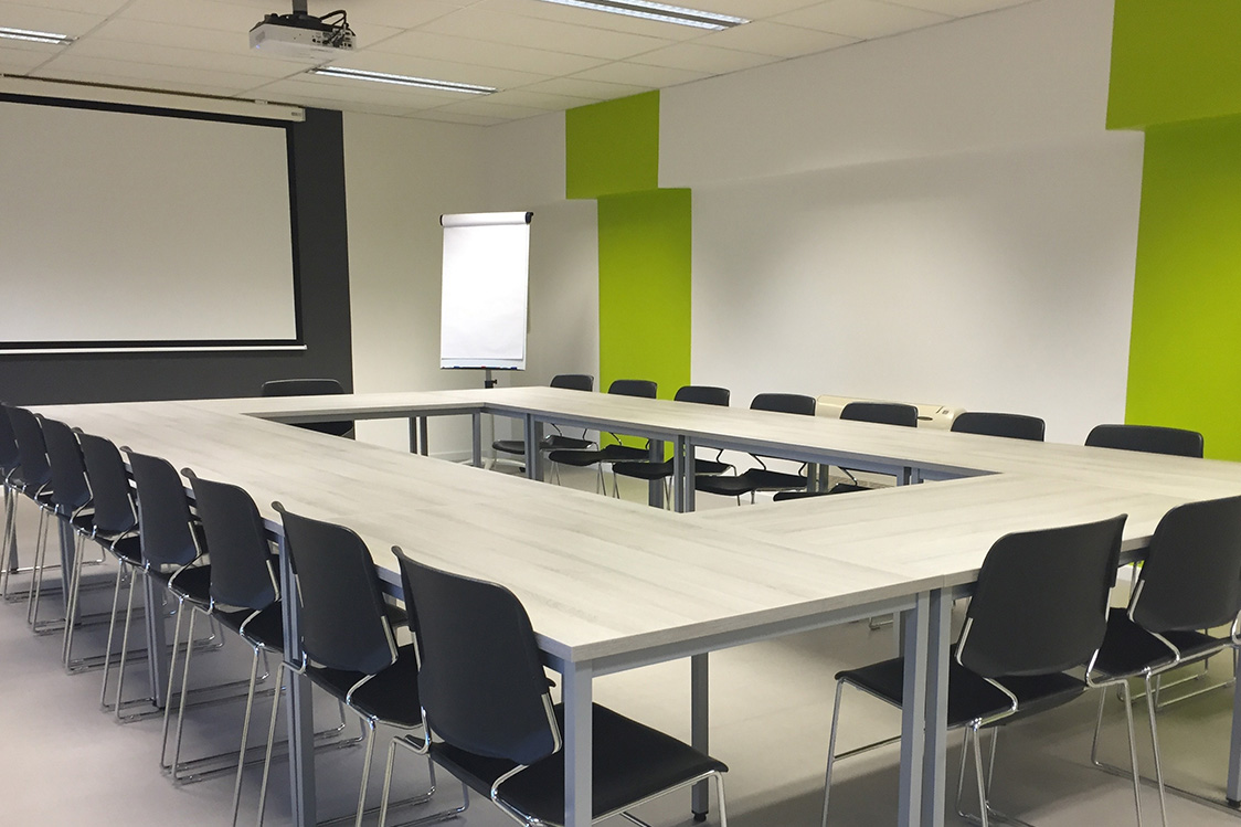 Meeting room with a square table