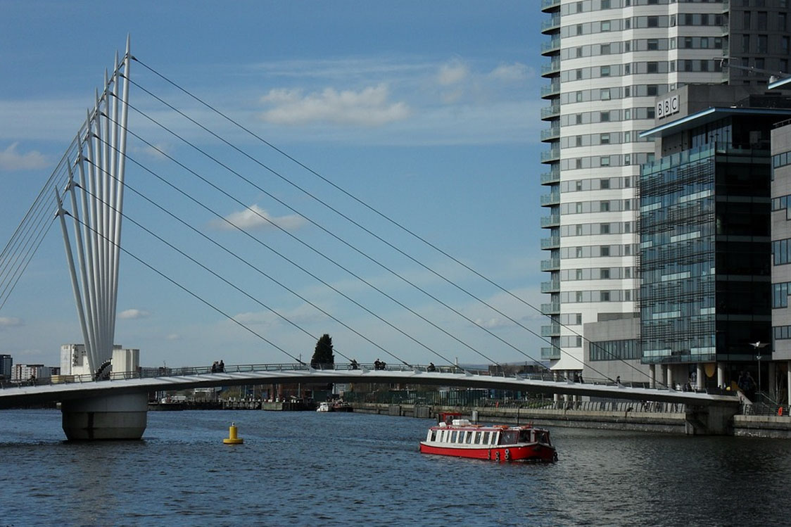 A Salford Quays bridge with a barge sailing underneath